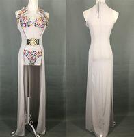 Wholesale Sexy Dance Performance Costumes - 2 piece sets sexy long cloak bodysuit color diamond female costume singer dancer nightclub bar fashion dj show performance