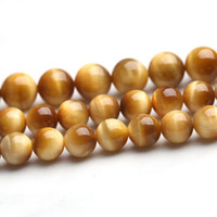 Wholesale Tigers Eye Beads Quality - High quality Natural Stone golden tiger eye stone Round Loose strand Beads 6 8 10 12mm Jewelry Making Bracelet Diy beads