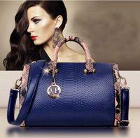 Wholesale Tote Bags Cheap Blue - 2015 New Women Handbag cheap Genuine Leather Bags snakeskin Leather Handbags Shoulder Bags Classic Bag Cowhide Bolsas Totes