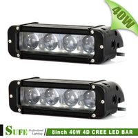 SUFE 2PCS 8 INCH 40W LED WORK LIGHT BAR FOR OFF ROAD TRUCK 4X4 4WD SUV DRIVING LIGHT BAR CAR FOG LIGHT 4D Проектор 60W / 120W