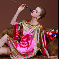 Wholesale Silk Pyjama Dress - Wholesale- 2017 Summer Women Nightgowns Rayon Silk Pyjamas Femal Night Shirt Short Sleeve Plus Size Nightgowns Sleep Dress Home Sleepwear