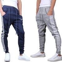 Wholesale Crotch Man - Wholesale- 2017 New Men Joggers Pants Casual Side Stripe Skinny Sweatpants Low Drop Crotch Harem Pants Shark Pants Black
