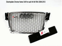 Wholesale Audi A4 Front Bumper - Electroplated chrome frame Car Mesh grills front bumper grill with parking radar sensor hole for Audi A4 B8 RS4 grille 2008-2012