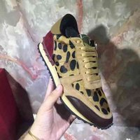 Wholesale horse hair leopard - Men & Women Hot Sale Luxury Designer Rivets Casual Leopard Horse Hair Shoes Unisex Suede Sports Sneakers Leisure Flat Shoes Size 35-44