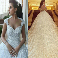 Wholesale luxury royal crystal wedding dresses - Luxury New Arrival 3D Lace Flowers Ball Gown Sweetheart Capped Sleeve Crystals Wedding Dresses Vestido De Noiva Bridal Gown