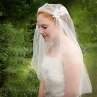 Wholesale juliet veil resale online - Juliet Cap White Ivory Champagne Wedding Veil Two Layer Elbow Length Bridal Veil Cut Edge Pearls Applique Tulle