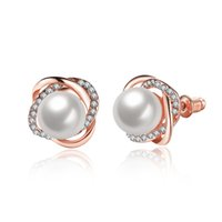 LWN 3 cores Fashion Cute Earrings White Pearl Flower Ear Studs Inlaid Bright Czech Crystal para as mulheres