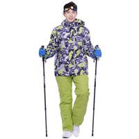 Wholesale Ski Suit Men Pants - Wholesale- Snowboard men skiing suit sets waterproof windproof -30 warm ski sets jackets and pants for men snow clothes