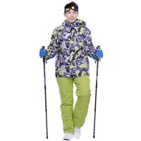 Wholesale Snowboard Jackets Pants - Wholesale- Snowboard men skiing suit sets waterproof windproof -30 warm ski sets jackets and pants for men snow clothes