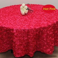 Wholesale Polyester Cloth Suppliers - Wholesale 120 inches white color Wedding Table Cloth Round Overlays 3D Rose Petal Round Tablecloths Wedding Decoration Supplier 7 Colors