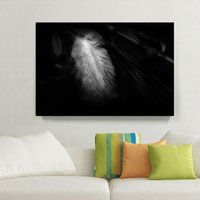 Wholesale 12x18 White Picture Frame - 1 Panels HD White Feather Modern Style Home Decor Wall Art Picture Digital Art Print Canvas Printed Picture for Living Room Wholesale
