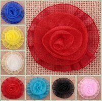 Wholesale Tulle Rosettes Wholesale - Tulle Mesh Chiffon Rosette Rose Flower Head For Girls Hair Dress Wedding Clothes Accessories Artificial Flower YH646