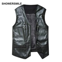 Wholesale Cheap Pu Jackets - Wholesale- Large Size Black Leather Vest Men Fleece Lined Warm Jackets Sleeveless Coat Winter Pu Leather Vest Pocket Classic Cheap Gilet