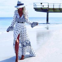 Wholesale Ankle Bells - Bohemian Dresses Cover Ups Split Bohemia Beach Dress for Women Plus Size Flora Printed V-neck Boho Beachwear bh8