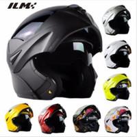Wholesale Dot Racing Helmets - Wholesale- DOT Approved Motorcycle Helmet with Inner Sun Visor Safety Flip Up Double Lens Dual Visor Racing Motocross Quad ILM Helmet Black