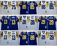 Venta al por mayor # 85 Jack Youngblood Jersey Hombres Azul Blanco # 13 Kurt Warner # 28 Marshall Faulk # 29 Eric Dickerson # 75 Deacon Jones Jersey