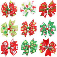 Wholesale best china ornaments resale online - Best gift Christmas hairpin Christmas ornament Halloween accessories Colorful ribbon hairpin FJ109 mix order pieces a