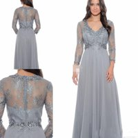 Wholesale Grey Empire Waist Dress - 2017 New Style Grey Chiffon Mother's Dresses With Sheer Long Sleeves Applique Lace Formal Guest Evening Gowns Empire Waist