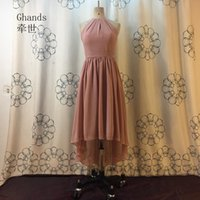 2017 Ghands Cheap Chiffon High-Neck A-line Асимметричный Hi-Lo Elegant Zipper Bridesmaid Dress Нестандартный размер / цвет