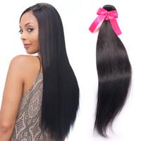 7a doğal sapık saç toptan satış-Kinky Düz Saç Demetleri Toptan Tek Parça / Paket 7a Bakire Remy Saç Demetleri Doğal Siyah Sapıkça Düz Dokuma Saç