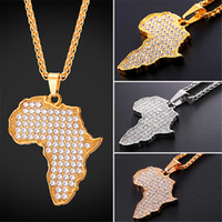 Wholesale crystal map - U7 New African Map Pendant Necklace With Austrian Rhinestone Stainless Steel Gold Black Gun Plated Africa Map Necklace For Men Women GP2572