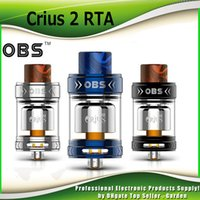 Wholesale E Cig Coil Tank - Authentic OBS Crius 2 RTA Tank Atomizer 3.5ml 25mm Diameter Single Ni80 Coils Filling Resin Trip Tip RTA E cig Atomizers 100% Genuine