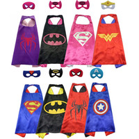 Wholesale Satin Cloaks - DHL Free Shipping 30sets Mix Styles 70*70cm Double Side Satin Kid Capes w  Mask Kid Cloaks Birthday Graduation Party Suplplies Event Gifts