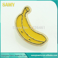 Wholesale Glass Banana - Wholesale-2015 NEW ARRIVE !! banana floating charms 10pcs lot for glass living locket