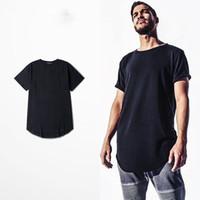 Wholesale Mens Plain Black T Shirt - Mens big and tall Clothing designer citi trends Clothes T shirt homme Curved hem Tee plain white Extended T shirt