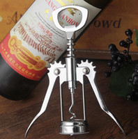 Wholesale Wine Accessory Wholesale - Stainless Steel Wine Bottle Opener Handle Pressure Corkscrew Red Wine Opener Kitchen Accessory Bar Tool Wing Corkscrew Opener KKA2291