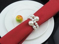 Wholesale Table Napkins For Weddings - 60Pcs Lot White Pearls Napkin Rings Wedding Napkin Buckle For Wedding Reception Party Table Decorations Supplies