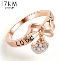 Wholesale Gold Love Words Ring - 17KM Romantic Gift Retro Love Heart Bow Rings Gold Color wedding Austrian Crystal Element Rings Word Ring For Women