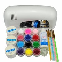 Wholesale Tip 31 - Wholesale- 2016 Russia Free Shipping Pro 9W white UV Gel Kits Tool UV lamp Brush Remover nail tips glue acrylic UV Nail Kit 31# Set