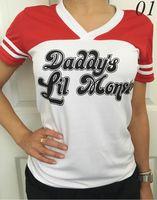 Wholesale Batman Tshirt Women - 2017 Christmas Costumes Batman Suicide Squad Haley Quinn cosplay Daddy's Lil Manster T-shirt Harley Quinn top Tshirt For Women