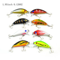 Wholesale Crankbait 5cm - 1 Pack 8Pcs 3.6g 5cm Carp Artificial Bait Fishing Lures Wobbler Fish Minnow Bass Lure Crankbait Trout Tackle Hook