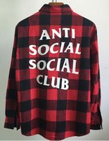 Wholesale Social Dresses - 2017 New fear of god Social Club Plaid Shirt Hip Hop Flannel Cotton Shirt Long Sleeve Red Unisex Street Wear