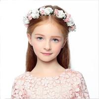 çiçek kızları kafa çelenkleri toptan satış-Kadınlar için saç aksesuarları Tiaras Bohemia Gelin Saç Çelenkler Çiçek Hairband Düğün Gelin Headdress Kız Kafa Çiçek Prenses Gif
