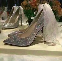 Wholesale Wedding 7cm Heels - Bling Bling Rhinestones Wedding Shoes 7cm 9cm Pointed Toe Bridal Dress Shoes Ribbon High Heels Formal Party Ankle Shoes Woman