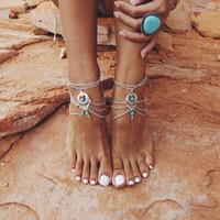 ingrosso sandali perline-Boho etnico turchesi perline cavigliera multistrato nappa braccialetto alla caviglia catena del piede gioielleria sandali a piedi nudi sexy cavigliera spiaggia