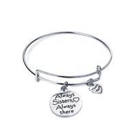 Wholesale friends forever bracelets - Always sisters my heart Always there Bracelet women thank you adjustable bracelets pendants best friend sis forever Bangle girl