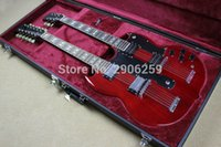 Wholesale Double Neck Oem - OEM Factory Custom Shop SG electric guitar double neck 1275 EDS wine red sg guitar real guitar pictures with hardcase high quality