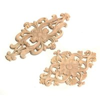 Wholesale Furniture Carvings - Wholesale- Newest Flower Pattern Wood Carved Unpainted Wood Oak Carved Round Onlay Applique Plaques Furniture Home Decoration Two Size