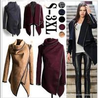 Wholesale Cotton Trench Coat Plus Size - 2017 Winter Autumn Women Woolen Coat Overcoat Jacket Women Trench Plus Size Mulher Abrigos Windbreaker Parka Outwear