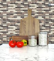 Wholesale 3D DIY self adhesive brown strip per pack wallpaper peel and stick wall tile sticker for kitchen bathroom home decor