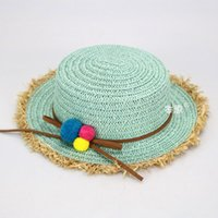 Wholesale Girls Black Straw Hat - Wholesale 5 pcs Retail Girls Straw Beach Sun Hats Kids Small Ball Decoration Spring Summer Sun Protective Caps MZ4559