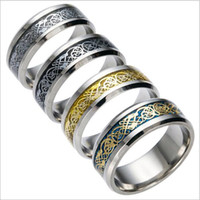 Wholesale Dragon Ornaments Wholesale - Fashion Europe and the United States bursts of religious belief titanium steel ornaments dragon ring ring silver dragon sheet stainless stee
