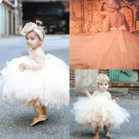 Wholesale Puffy Clothing - 2017 New Cute Girl's Pageant Dresses Toddler Pageant Clothes Long sleeves Lace Tutu Dresses Ball Gowns Puffy Flower Girls Dresses
