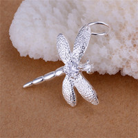 Wholesale Dragonfly Pendant 925 Silver Necklace - 10PCS lot Free shipping 925 Sterling silver plated Insert Stone Dragonfly Pendant LKNSPCP011