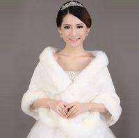 Wholesale Cheap Winter Coats Sale - Hot Sale Cheap Warm Fur Ivory Bolero Wedding Wrap Shawl Bridal Jacket Coat Accessories wedding 2017 cape coat free shipping