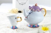Wholesale Porcelain Coffee Pots - Beauty And The Beast Tea Set Mrs Potts Chip Teapot Cup Set Lovely Porcelain Coffee Creative Gift [1 Pot + 1 Cup + 1 Sugar Bowl]